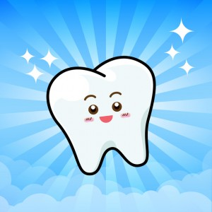 Happy Dental Smile Tooth Mascot Cartoon Character on sunburt blue sky background vector illustration